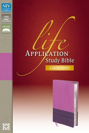 NIV, Life Application Study Bible, Large Print, Leathersoft, Purple/Pink, Indexed