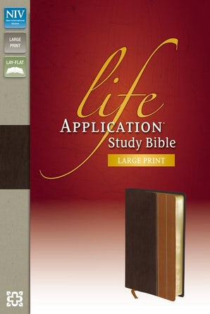 NIV, Life Application Study Bible, Large Print, Leathersoft, Brown/Tan, Red Letter Edition, Indexed