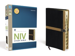 NIV Study Bible, Large Print, Leathersoft, Black/Tan, Indexed, Red Letter Edition