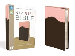 NIV, Gift Bible, Leathersoft, Pink/Brown, Red Letter Edition