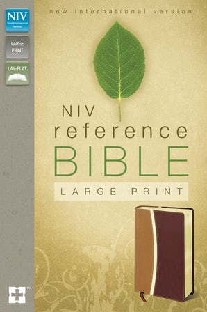 NIV, Reference Bible, Large Print, Leathersoft, Tan/Burgundy, Red Letter Edition