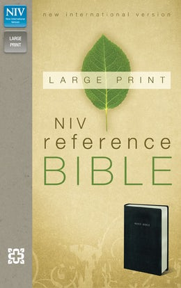 NIV, Reference Bible, Large Print, Leather-Look, Black, Red Letter Edition