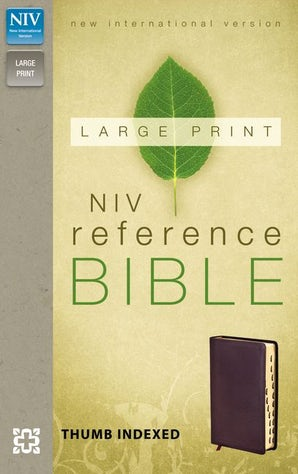 NIV, Reference Bible, Large Print, Bonded Leather, Burgundy, Indexed, Red Letter Edition
