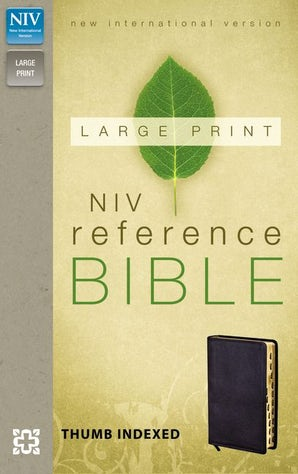 NIV, Reference Bible, Large Print, Bonded Leather, Black, Indexed, Red Letter Edition