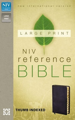 NIV, Reference Bible, Large Print, Imitation Leather, Black, Indexed, Red Letter Edition