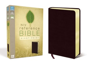 NIV, Reference Bible, Giant Print, Bonded Leather, Burgundy, Red Letter Edition