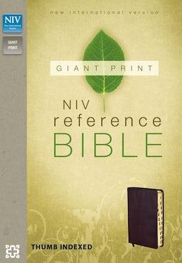 NIV, Reference Bible, Giant Print, Imitation Leather, Burgundy, Indexed