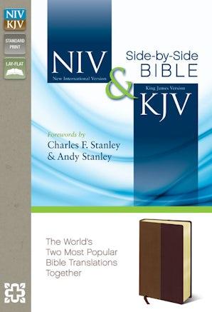 NIV, KJV, Side-by-Side Bible, Leathersoft, Tan/Burgundy book image