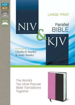 NIV, KJV, Parallel Bible, Large Print, Leathersoft, Pink/Brown