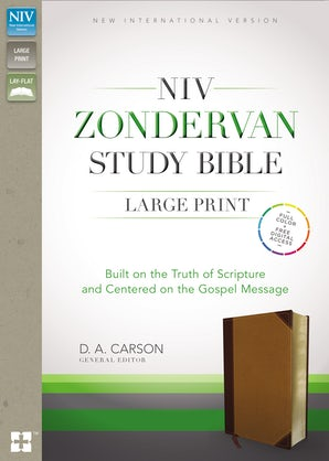 NIV Zondervan Study Bible, Large Print, Leathersoft, Brown/Tan, Indexed