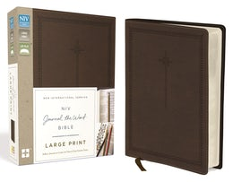 NIV, Journal the Word Bible, Large Print, Leathersoft, Brown