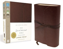 NIV, Journal the Word Bible, Large Print, Premium Leather, Brown
