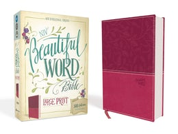 NIV, Beautiful Word Bible, Large Print, Leathersoft, Pink