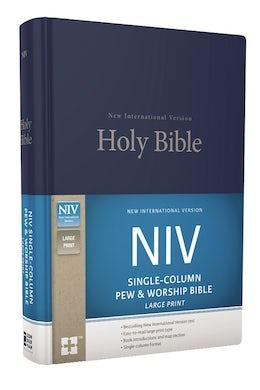 NIV, Single-Column Pew and Worship Bible, Large Print, Hardcover, Blue