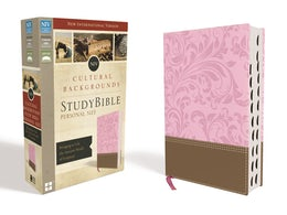 NIV, Cultural Backgrounds Study Bible, Personal Size, Leathersoft, Pink/Brown, Indexed, Red Letter Edition