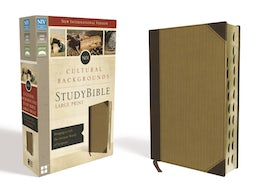 NIV, Cultural Backgrounds Study Bible, Large Print, Leathersoft, Tan, Indexed, Red Letter Edition