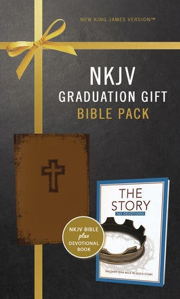 NKJV, Graduation Gift, Bible Pack for Him, Brown, Red Letter Edition