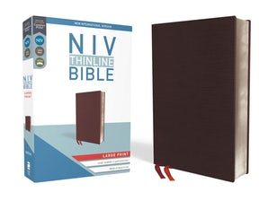 NIV, Thinline Bible, Large Print, Bonded Leather, Burgundy, Red Letter Edition, Comfort Print
