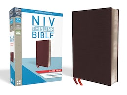 NIV, Thinline Bible, Large Print, Bonded Leather, Burgundy, Indexed, Red Letter Edition, Comfort Print