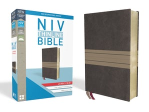NIV, Thinline Bible, Large Print, Leathersoft, Brown/Tan, Red Letter Edition, Comfort Print