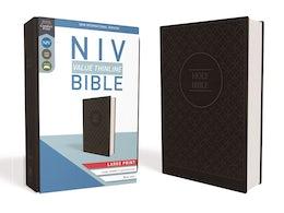 NIV, Value Thinline Bible, Large Print, Leathersoft, Gray/Black, Comfort Print