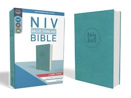 NIV, Value Thinline Bible, Large Print, Leathersoft, Teal, Comfort Print