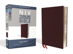 NIV, Thinline Reference Bible, Large Print, Bonded Leather, Burgundy, Red Letter Edition, Comfort Print