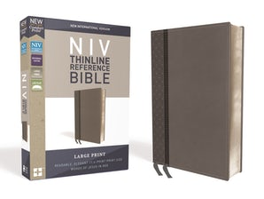 NIV, Thinline Reference Bible, Large Print, Leathersoft, Gray, Red Letter Edition, Comfort Print