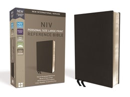 NIV, Personal Size Reference Bible, Large Print, Premium Leather, Calfskin, Black, Red Letter Edition, Comfort Print