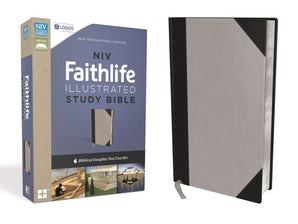 NIV, Faithlife Illustrated Study Bible, Leathersoft, Gray/Black, Indexed