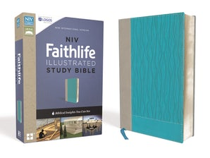 NIV, Faithlife Illustrated Study Bible, Leathersoft, Gray/Blue, Indexed