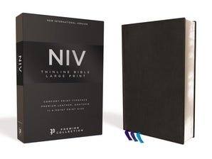 NIV, Thinline Bible, Large Print, Premium Leather, Goatskin, Black, Premier Collection, Comfort Print