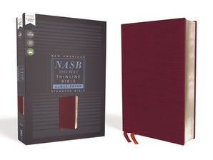 NASB, Thinline Bible, Large Print, Bonded Leather, Burgundy, Red Letter Edition, 1995 Text, Comfort Print book image