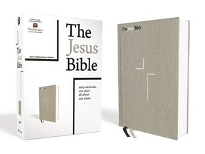 The Jesus Bible, NIV Edition, Cloth over Board, Gray Linen, Comfort Print book image