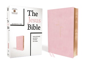 The Jesus Bible, NIV Edition, Leathersoft over Board, Pink, Thumb Indexed, Comfort Print book image
