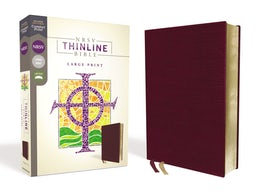 NRSV, Thinline Bible, Large Print, Bonded Leather, Burgundy, Comfort Print