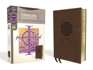 NRSV, Thinline Reference Bible, Leathersoft, Brown, Comfort Print book image