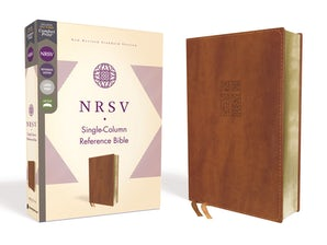 NRSV, Single-Column Reference Bible, Leathersoft, Brown, Comfort Print book image