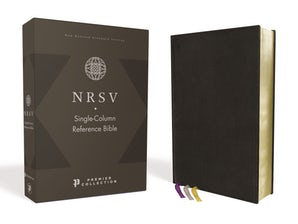 NRSV, Single-Column Reference Bible, Premium Goatskin Leather, Black, Premier Collection, Comfort Print book image