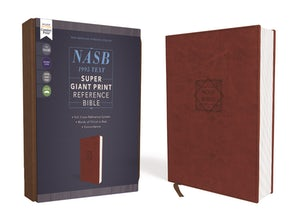 NASB, Super Giant Print Reference Bible, Leathersoft, Brown, Red Letter Edition, 1995 Text, Comfort Print book image