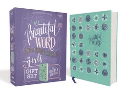 NIV, Beautiful Word Coloring Bible for Girls Pencil/Sticker Gift Set, Updated, Leathersoft over Board, Teal, Comfort Print