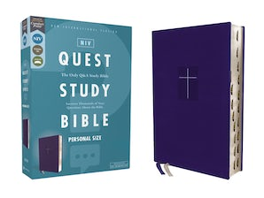 NIV, Quest Study Bible, Personal Size, Leathersoft, Blue, Thumb Indexed, Comfort Print book image