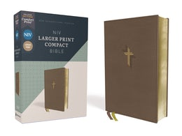 NIV, Larger Print Compact Bible, Leathersoft, Brown, Red Letter, Comfort Print