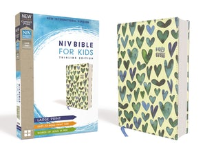 NIV, Bible for Kids, Large Print, Cloth over Board, Turquoise Hearts, Red Letter Edition, Comfort Print