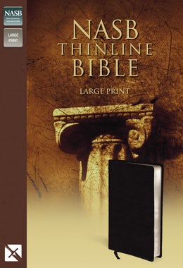 NASB, Thinline Bible, Large Print, Bonded Leather, Black, Red Letter Edition