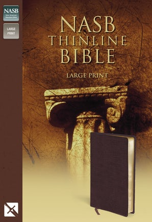 NASB, Thinline Bible, Large Print, Bonded Leather, Burgundy, Red Letter Edition