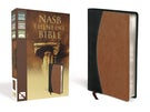 NASB, Thinline Bible, Leathersoft, Black/Tan, Red Letter Edition