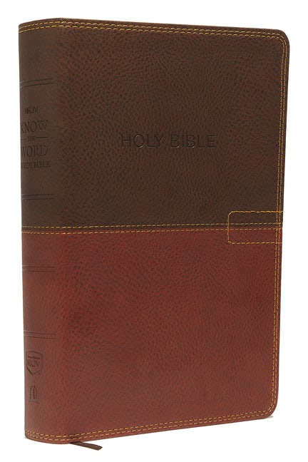 NKJV, Know The Word Study Bible, Leathersoft, Brown/Caramel, Red