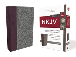 NKJV, Deluxe Reference Bible, Compact Large Print, Leathersoft, Purple, Red Letter Edition, Comfort Print