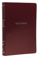 NKJV, Reference Bible, Center-Column Giant Print, Leather-Look, Burgundy, Red Letter Edition, Comfort Print